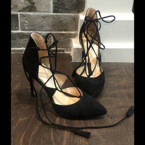 Jessica Simpson Black Lace Up Heels